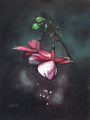 Painting - Fuchsia And Dew  by Courtney Wilding