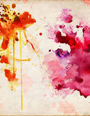 Painting - Fuchsia And Orange Color Splash by Aloke Creative Store