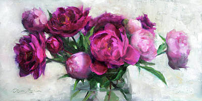 Bouquet Painting - Fuchsia And White by Anna Rose Bain