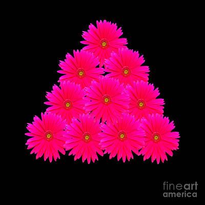 Mixed Media - Fuchsia Daisy Pyramid  by Rachel Hannah