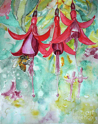 Art Print featuring the painting  Fuchsia by Jasna Dragun