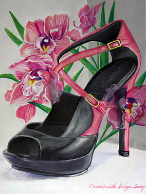 Mixed Media - Fuchsia Orchid Colour Block by Karon Melillo DeVega