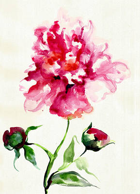 Mit Painting - Fuchsia Pink Peony Flower With Buds And Leafe by Tiberiu Soos