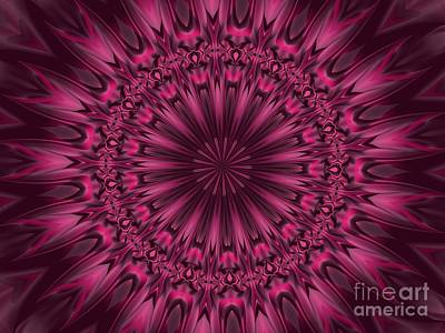 Digital Art - Fuchsia Pink Satin Shadows Fractal Abstract Kaleidoscope Mandala K08 by Rose Santuci-Sofranko