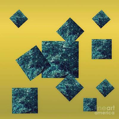 Too Cute For Words - Fuchsite Squares On Gold by Rachel Hannah