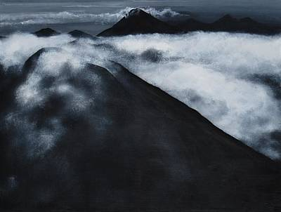 Monotone Painting - Fuego Volcano by Patricia Ann Dees