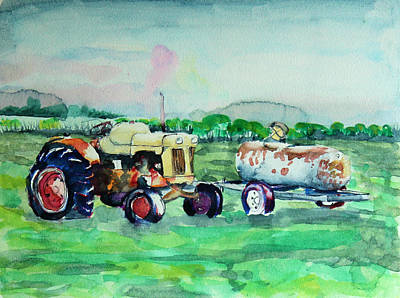 Steam Tractor Painting - Fueling Up by Nichole Lorenzen