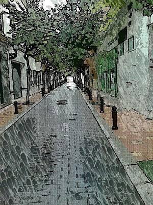 The Trees Mixed Media - Fuengirola Quiet Back Street by Paul Gibbins