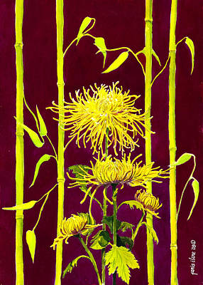 Fuji Mums And Bamboo Original by Janis Grau