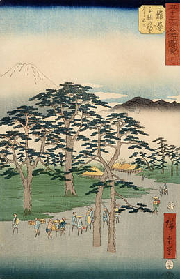 Light And Dark Drawing - Fujisawa From The Series Fifty Three Stations Of The Tokaido by Hiroshige