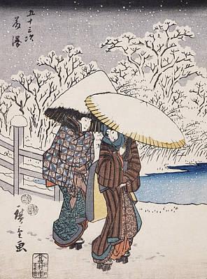 Winter Landscape Drawing - Fujisawa by Hiroshige