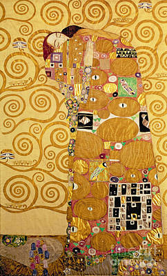 Valentines Day Painting - Fulfilment Stoclet Frieze by Gustav Klimt