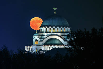 Photograph - Full Blood Moon Over The Magnificent St. Sava Temple In Belgrade by Dejan Kostic