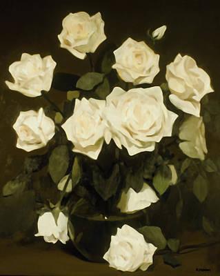 Painting - Full-blown White Roses by Robert Holden