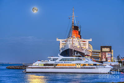 Photograph - Full Blue Moon Rising Over Queen Mary by David Zanzinger