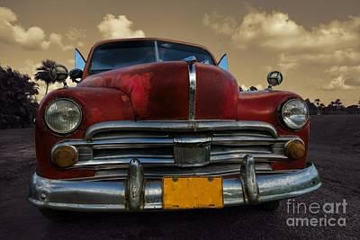 Full Classic Car In Rural Setting In Cuba Art Print