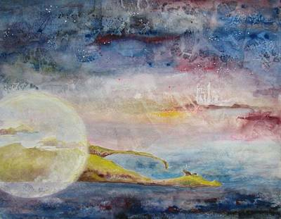 Painting - Full Cold Moon by Lesley Atlansky