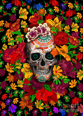 Old School Tattoos Digital Art - Full Color Floral Sugar Skull by Three Second