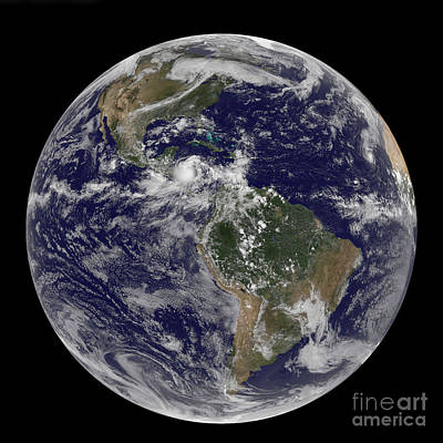 Terrestrial Sphere Photograph - Full Earth Showing North America by Stocktrek Images