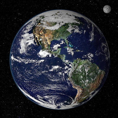 Terrestrial Sphere Photograph - Full Earth Showing North And South by Stocktrek Images