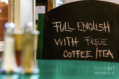 Photograph - Full English Sign, Oxford, England, Uk by Tom Rydel
