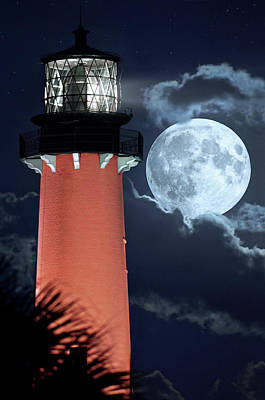 Photograph - Full Flower Moon Over Jupiter Lighthouse And Museum Closeup by Justin Kelefas