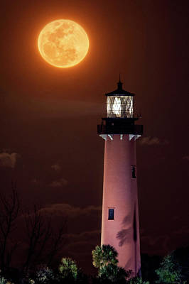 Photograph - Full Glowing Moon Over Jupiter Lighthouse In Jupiter, Florida by Justin Kelefas