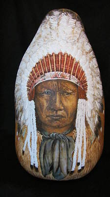 Pyrography - Full Headdress by Barbara Prestridge