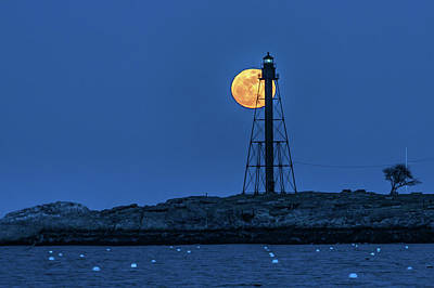 Photograph - Full Moon Above Marblehead Light by Jeff Folger