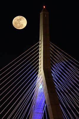 Photograph - Full Moon Across Boston Bunker Hill Bridge by Juergen Roth