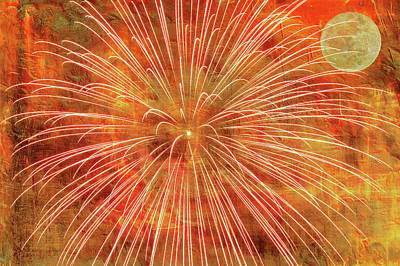 Fire Works Digital Art - Full Moon And Fireworks by Randy Steele