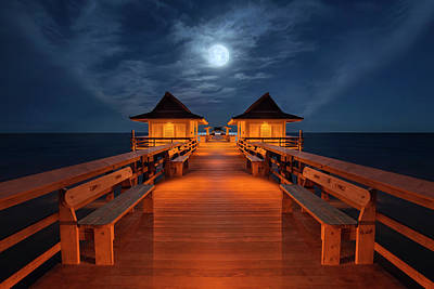 Photograph - Full Moon And Jupiter Setting Over Naples Pier by Justin Kelefas
