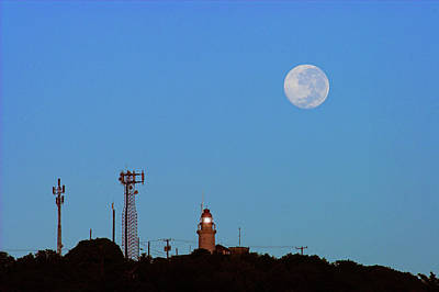 Full Moon And Lighthouse- St Lucia Art Print by Chester Williams