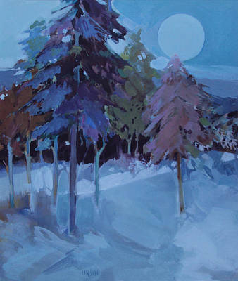 Full Moon And Pines Art Print