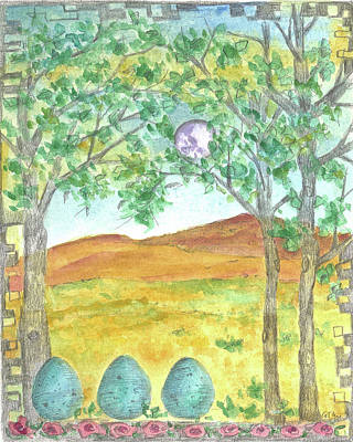 Print featuring the drawing Full Moon And Robin Eggs by Cathie Richardson