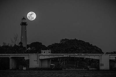 Photograph - Full Moon And The Jupiter Lighthouse by Christopher Perez