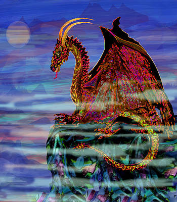 Surrealism Royalty Free Images - Full Moon Aries Dragon on Crystal Mountain  Royalty-Free Image by Michele Avanti