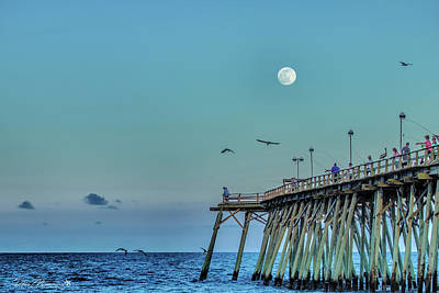Photograph - Full Moon At Kure Beach Pier by Phil Mancuso