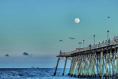 Photograph - Full Moon At Kure Beach Pier by Phil Mancuso