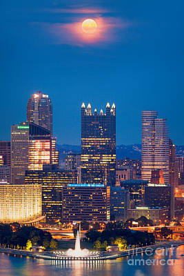 Photograph - Full Moon At  Pittsburgh  by Emmanuel Panagiotakis