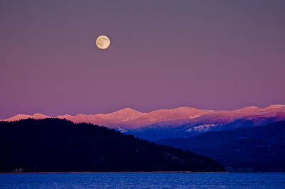 Photograph - Full Moon At Sunset  -  091201a-3 by Albert Seger