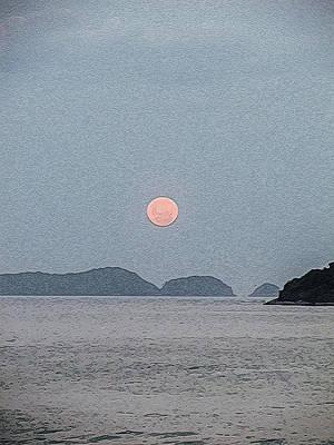 Full Moon At The Beach Art Print