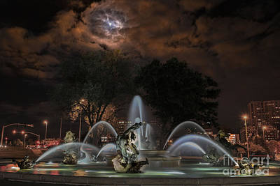 Full Moon At The Fountain Art Print by Lynn Sprowl
