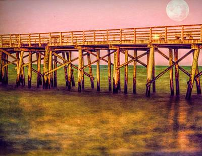 Photograph - Full Moon At The Pier by Alice Gipson
