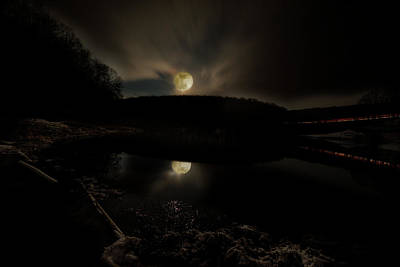 Photograph - Full Moon At Trout Pond At Night by Dan Friend