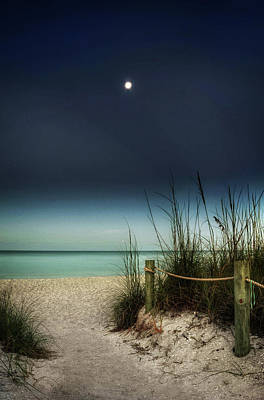 Full Moon Beach Art Print by Greg Mimbs