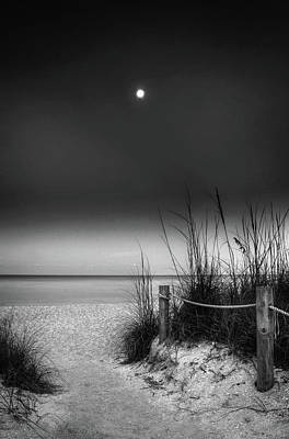 Beach Photograph - Full Moon Beach In Black And White by Greg Mimbs
