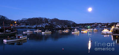 Photograph - Full Moon Before Dawn, New Harbor, Maine 81341 by John Bald