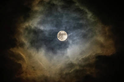 Photograph - Full Moon Behind Clouds by Kathleen McGinley