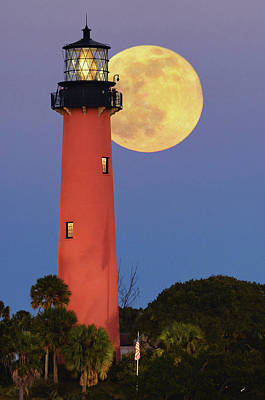 Photograph - Full Moon Behind Jupiter Lighthouse Closeup by Justin Kelefas